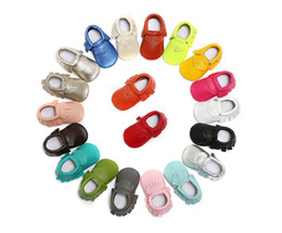 Wholesale Walker Leather Shoe - Genuine Leather Baby Soft Sole First Walkers Soft Leather Tassels Moccasins Toddler Baby Shoes 20 colors
