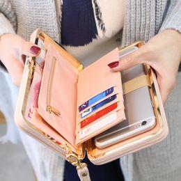Wholesale Women Pocket Money - Purse wallet female famous brand card holders cellphone pocket gifts for women money bag clutch