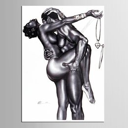Wholesale Nude Body Wall Art - Naked Lover Abstract Body Art Painting HD Print Painting Modern Fashion Wall Decoration for Home Living Room Bedroom Hotel
