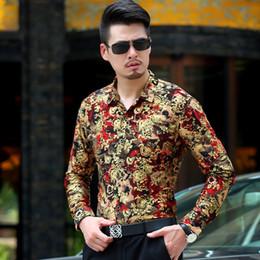 Wholesale Silk Mens Long Shirt - Men's Shirts British Style Long Sleeve Shirt men floral Slim Casual Clothes Mens Dress Shirts Chemise Masculina Camisa Vetement Homme