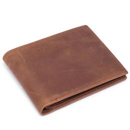 Wholesale Wallet Mens Nylon - Retro Genuine Leather Wallet Mens Wallets Short Wallet Men Purses for Card Holder Retro Wallets Crazy Horse Leather Wallet Brown Man Purse