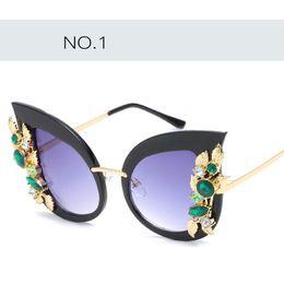 Wholesale Cat Street - 1 PCS!Fashion Diamond sunglasses for women fashion personality cat eye sunglass for beach party street newest style