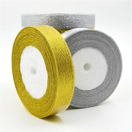 Wholesale silver gift wrap ribbon - 25 yards lot 1'' (25mm) Gold And Silver Ribbon Wedding Decoration Christmas Packaging Ribbon Card Gift Wrapping Riband