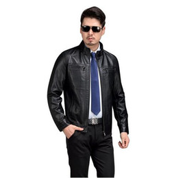 Wholesale Leathe Jackets - AIBIANOCEL Brand Leathe & Suede Men Spring Leather Jackets And Coats Fashion Black Brown 5XL PU Leather Men's Leather Jacket 53