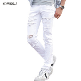 Мужские белые брюки онлайн-Wholesale- MORUANCLE Mens White Ripped Jeans Pants With Holes Super Skinny Slim Fit Destroyed Distressed Denim Joggers Trousers For Male
