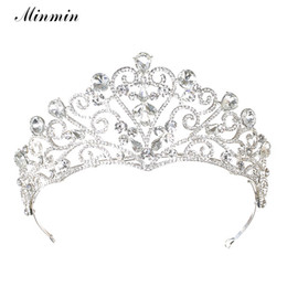 Wholesale Heart Wig - Minmin Classic Shiny Crystal Princess Tiaras And Crowns Noble Silver Color Heart Rhinestone Bridal Wedding Hair Jewelry Mhg 108
