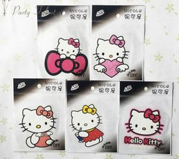 Wholesale Individual Stickers - Kitty Cat Cartoon Individual clothes decoration DIY Iron Sticker 50pcs lot for Girls Iron On Heat Transfer Glitter Stickers
