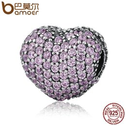 Wholesale Love Clip Pandora - Pandora 925 Sterling Silver Pave Open My Heart, Pink Clear Cubic Zirconia CZ Clip Charms Fit Bracelet DIY Jewelry Making PSC065