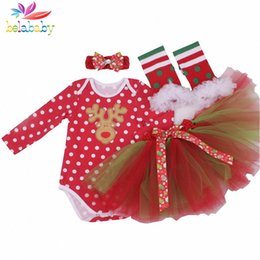 Wholesale Skirt Legging Girl Suit - Wholesale- Belababy Newborn Baby Clothing set New Long Sleeve Christmas Cartoon ( Romper + TuTu Skirt + Legging + Headwear) 4pcs Girl Suit