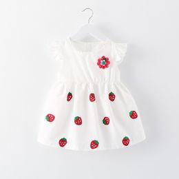 Wholesale Children Strawberry Cap - 2017 New Pretty Strawberry Flowers Applique White Girl Dress Summer Cute O neck Cap Sleeves Ruffle A line Short Children Baby Dresses