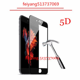 Wholesale Iphone Cold - 10pcs 5D Screen Protector Film for iPhone 6 6s Plus New 5D Cold Carving Full Cover 9H Hight Quality Tempered Glass for iPhone 6 6s 7 7 Plus
