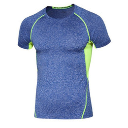 Wholesale Building Clothes - T-Shirt Outdoor Sports Body-Building Clothes Men's Sports T-Shirt Sportswear Yoga Outfits Fitness Compression Shirt Elastic Tight Top Coat