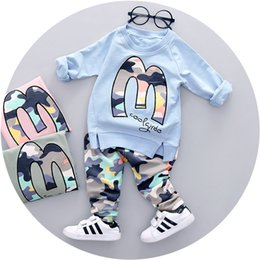 Wholesale Camouflage Girl Clothing - casual baby girl clothes long sleeve sleeve camouflage M letter t-shirt +pants 2pcs suit newborn baby summer clothing set