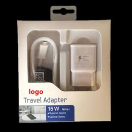 Wholesale Travel Plug Set - fast charger travel adapter USB cable 2 in 1 quick charging wall plug set US EU With retail box for samsung galaxy s6