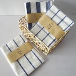 Wholesale Cotton Tea Towels Wholesale - Mediterranean blue plaid tea towels and cloth napkins series