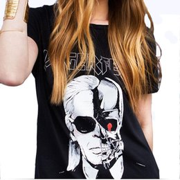 Wholesale Skull Bells - Wholesale-2016 Summer Letter LAGERFELD Printed T-shirts Women Skull Ghost Pattern O neck T Shirt Female harajuku tee shirt femme QL2125