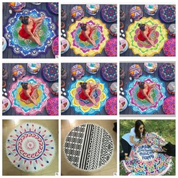 Wholesale Babies Bath Towels - Round Mandala Beach Towel Tassel Tapestry Hippie Boho Tablecloth Bohemian Shawl Sunbath Bikini Wrap Yoga Mat Picnic Blanket CCA5656 10pcs