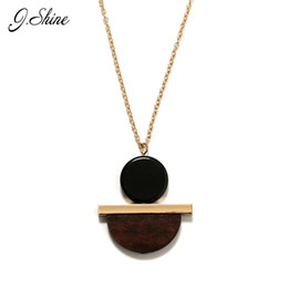 Wholesale Vintage Sweaters For Women - Wholesale- Personalized Vintage Geometric Round Wood Resin Long Winter Sweater Pendant Necklaces Collier Ethnic Jewelry Necklaces for Women