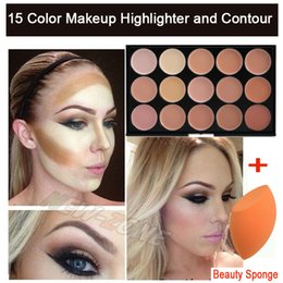 Wholesale Beauty Blender Pro - Wholesale-Pro 15 Color Cream Makeup Face Contour Kit Highlight Concealer Palette Bronzer with Gift Blender Sponge Beauty Cosmetic Set