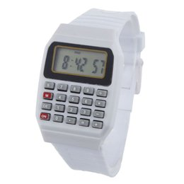 Проектная электроника онлайн-Роман дизайн Unsex силиконовые часы многоцелевой Дата Время электронный калькулятор наручные часы и красочные детские часы подарок