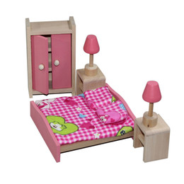 Wholesale Miniatures For Model - Miniature Furniture Model Playset Pink Wooden Dollhouse Bedroom Early Educational Toy for Kid Child Baby Girl Play