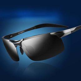 Wholesale magnesium vision - New Brand Designer Sunglasses For Men Luxury Sun Glasses Polarized With Night Vision Mirror Aluminum Magnesium Frame Sunglass Rays UV400