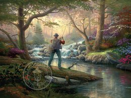Wholesale Modern Floral Art Paintings - Thomas Kinkade Oil Paintings Art Forest landscape fishing HD Picture High Quality Giclee Print On Canvas Decor Modern Art Home Decoration