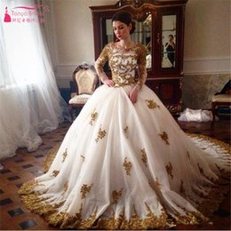 Wholesale tull wedding dresses sleeves - Gorgeous Wedding Dress Long sleeve Muslim Tull Ball Gowns With Gold Lace Appliques Sweep Train Arabic Bridal Dresses 2016