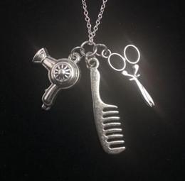 Wholesale Scissor Comb Jewelry - Wholesale- Blow Dryer Comb&Scissors Necklace Pendant Charms Vintage Silver Collar Statement Choker Necklace For Women Hot Sale Jewelry Z497