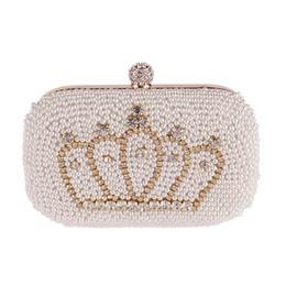 Wholesale Elegant Wedding Purse - Wholesale-Gold Diamond Crown Beads Women Pearl Evening Bag Luxury Elegant Clutch Gorgeous Bridal Wedding Party Handbag Fashion Purse MX162