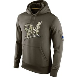 Wholesale Best Style For Men - new styles of Men's Milwaukee Brewers olive salute to service ko performance Hoodie,we will try our best for you all the time