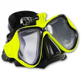 Wholesale Gopro Silicon - Wholesale-1Pcs Top Snorkel Mask Soft Liquid Silicon Scuba Diving Mask With Clear Tempered Glass Diving Masks For SJ4000 GoPro Hero 4 3+