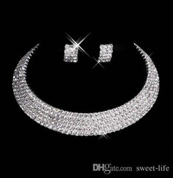 Wholesale Formal Jewelry - Designer 2017 15035 Sexy Men-Made Diamond Earrings Necklace Party Prom Formal Wedding Jewelry Set Bridal Accessories Free Shipping In Stock
