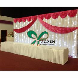 Wholesale led curtain wedding backdrop - 3m*6m Wedding Backdrop Curtain Include The Top And Middle Swag And The Led Light