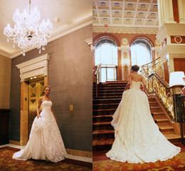 Wholesale Strapless Beach Wedding Bride - Vintage Ivory Lace Wedding Dresses 2017 Robe de Mariage Strapless Court Train Backless Beautiful Brides Dress Vestidos de Novia
