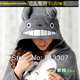 Wholesale Totoro Teddy Bear - fleece wrap with pockets Plush toy totoro mantissas cape lounged blanket air conditioning blanket dual coral fleece Free Shipping 1Pcs