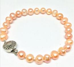 Wholesale Strands Black Pearls 9mm - Natural 8-9mm Pink freshwater cultured Pearl Bracelet 7.5 Inch