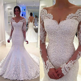 Wholesale Crystal Castles - Elegant Satin Lace Mermaid Wedding Dress High Quality Custom Made V Neck Long Sleeves Bridal Dresses New Arrival
