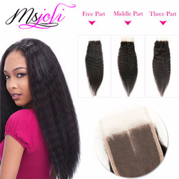 Wholesale Mixed Queen Malaysian Hair - 7A Malaysian human virgin hair weave kinky curly yaki natural color 4x4 lace closure queen with three bundles three parts from Ms Joli