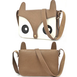 Wholesale Fox Wholesale Cell Phones - Wholesale-New PU Leather Naughty Little Fox Bag Girl Retro Cute Shoulder Bag Fashion Free Shipping
