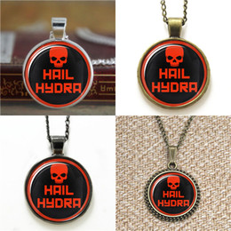 Wholesale Red Cabochon Earrings - 10pcs Red Skull pendant Hail hydra emblem Glass Photo Cabochon Necklace keyring bookmark cufflink earring bracelet