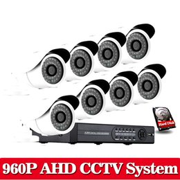Wholesale Outdoor White Cctv Camera - White HD Video Surveillance System CCTV 8CH 1080N DVR Kit with 960P 2500TVL 1.3MP HD Night Vision Outdoor Security Camera System