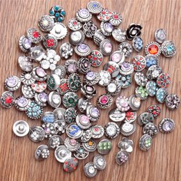 Wholesale Sterling Silver Chains 12mm - special offer 50pcs lot Fashion 12mm Metal Snap Buttons Rhinestones Mixed Styles Diy Snaps Charms Jewelry Bracelet&bangledirect selling
