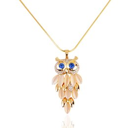 Wholesale Gold Owl Chain For Women - Wholesale-2015 New Brand Design Women Gold Necklace Zinc Alloy Crystal Jewelry Owl Necklace Pendant Long Vintage Necklaces for Women!N026