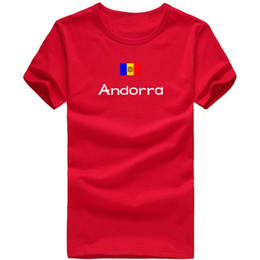Wholesale Girls Gymnastics Clothing - Andorra T shirt Gymnastics sport short sleeve Cheering girl tees Nation flag clothing Unisex cotton Tshirt