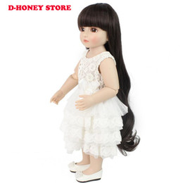 Wholesale American Girl Dolls Clothes - 48cm BJD dolls full silicone cute American girl with long hair and lovely kids clothes silicone reborn baby dolls with white dress