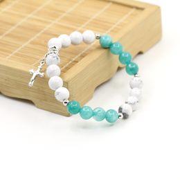 Wholesale Jade Craft Jewelry - New design malaysian jade turquoise beads bracelet beautiful women mem cross bracelet for fashiob jewelry crafts