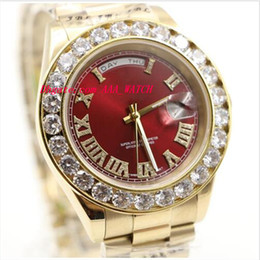 Wholesale Ct Steel - Luxury Wristwatch 18K Mens Yellow Gold 36MM Automatic Mechanical Red Dial Bigger Diamond Watch 6.0 Ct Men Watches New Arrival