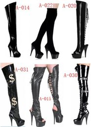 Wholesale Strapped Knee High Heels - 15cm high-heeled shoes cutout over-the-knee women's boots back strap open toe sandals 6 inch heels thigh high boots
