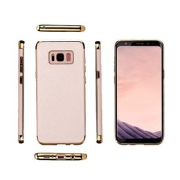 Wholesale Iphone Hard Plastic High Quality - High Quality Hard Case for Samsung S8 S8 Plus Luxury Electroplated PC Sticking PU Leather Combined Protect Cover iPhone 7 Plus Free Shipping